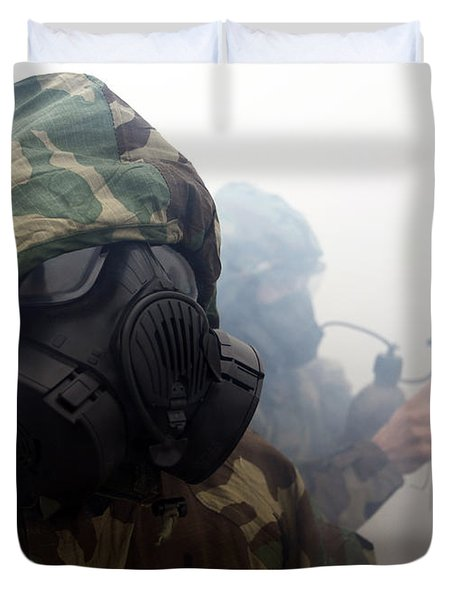 A Marine Wearing A Gas Mask Duvet Cover by Stocktrek Images