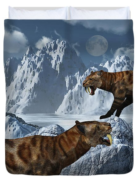 A Pair Of Sabre-toothed Tigers Duvet Cover by Mark Stevenson