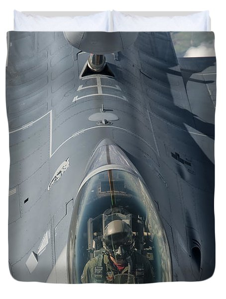 A U.s. Air Force F-16c Fighting Falcon Duvet Cover by Giovanni Colla