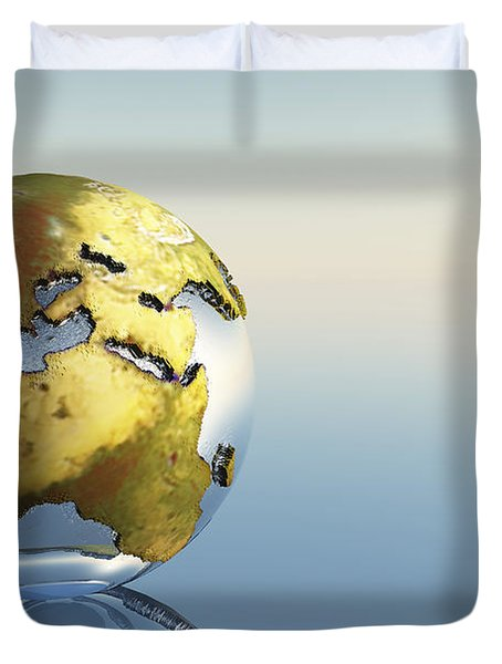 A World Globe Showing The Continents Duvet Cover by Corey Ford