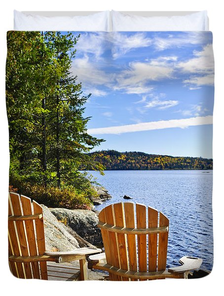 Adirondack chairs at lake shore Duvet Cover by Elena Elisseeva