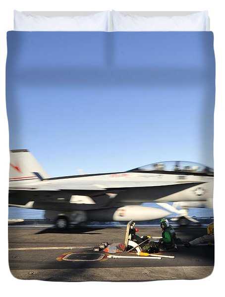 An Fa-18f Super Hornet Launches Duvet Cover by Stocktrek Images