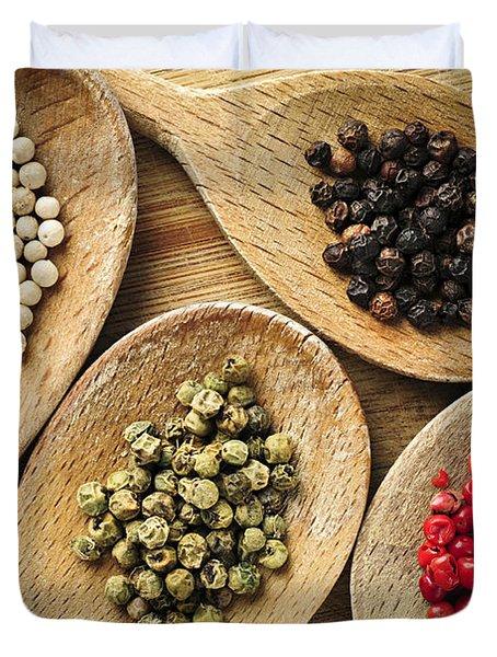 Assorted Peppercorns Duvet Cover by Elena Elisseeva
