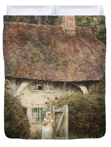 At The Cottage Gate Duvet Cover by Helen Allingham