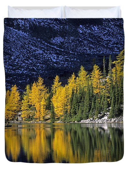 Autumn, Alpine Larch Trees, Lake Agnes Duvet Cover by John Sylvester