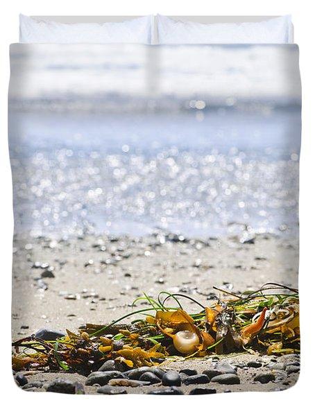 Beach Detail On Pacific Ocean Coast Duvet Cover by Elena Elisseeva
