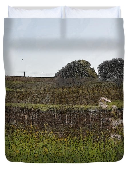 Beautiful California Vineyard Framed With Flowers Duvet Cover by Brandon Bourdages