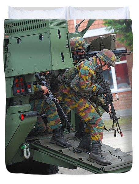 Belgian Infantry Soldiers Exit Duvet Cover by Luc De Jaeger