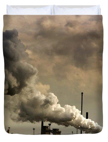 Black Smoke Emitting From Factory Duvet Cover by John Short