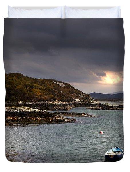 Boat In Water, Loch Sunart, Scotland Duvet Cover by John Short