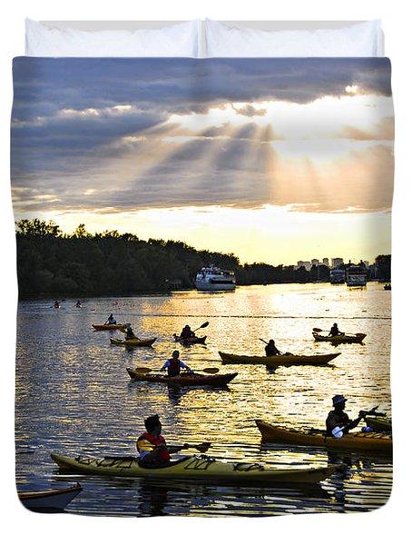 Canoeing Duvet Cover by Elena Elisseeva