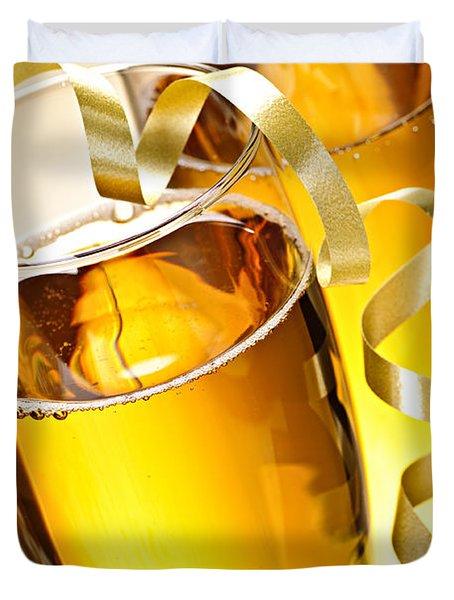 Champagne Glasses Duvet Cover by Elena Elisseeva
