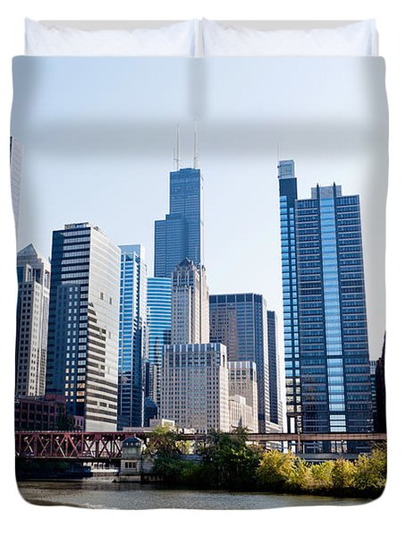Chicago River Skyline With Sears-willis Tower Duvet Cover by Paul Velgos