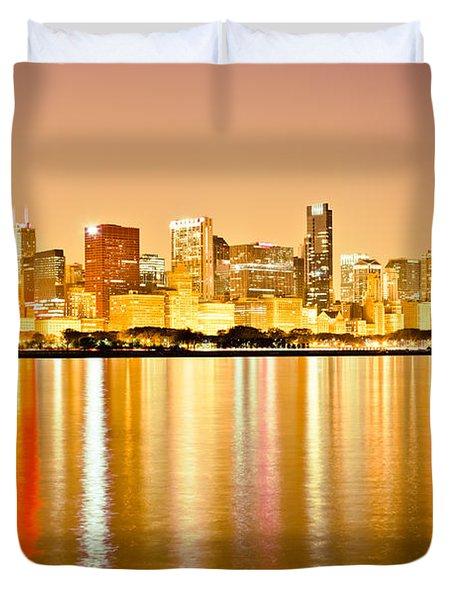 Chicago Skyline At Night Photo Duvet Cover by Paul Velgos