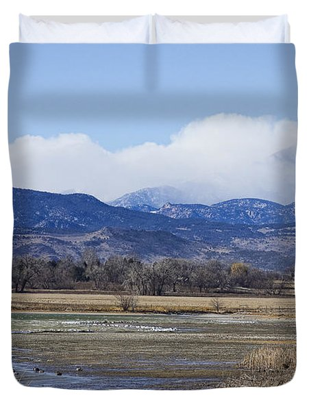 Clouds Hanging On The Continental Divide Colorado Rocky Mountain Duvet Cover by James BO  Insogna