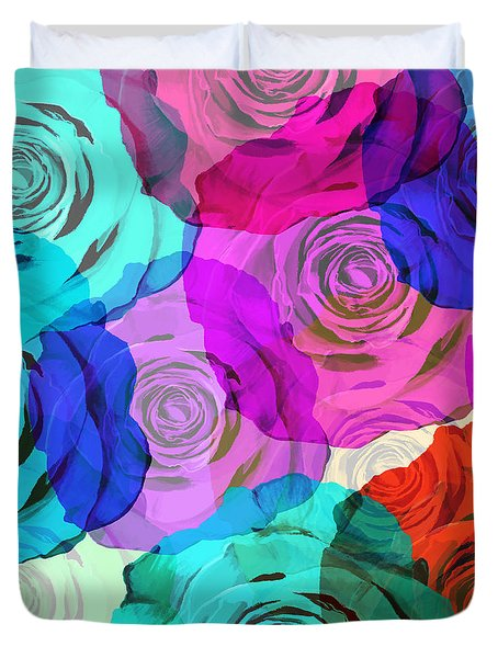 Colorful Roses Design Duvet Cover by Setsiri Silapasuwanchai
