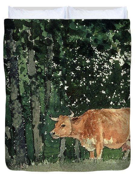 Cow In Pasture Duvet Cover by Winslow Homer