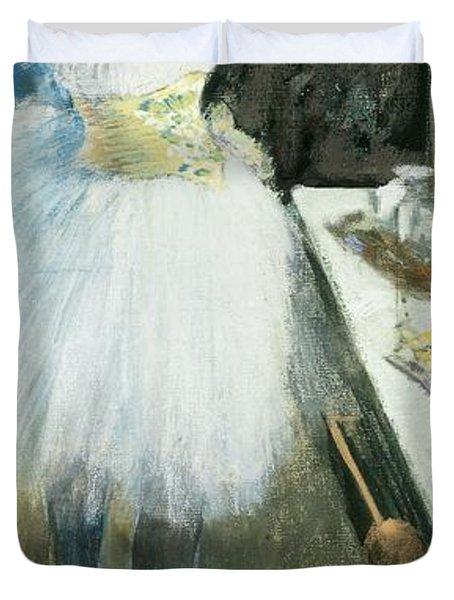 Dancer In Her Dressing Room Duvet Cover by Edgar Degas