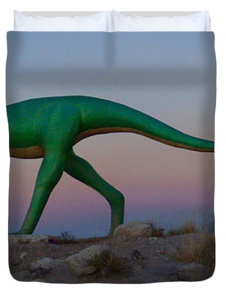 Dinosaur Loose on Route 66 Duvet Cover by Mike McGlothlen