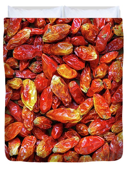 Dried Chili Peppers Duvet Cover by Carlos Caetano