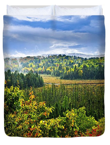 Fall forest rain storm Duvet Cover by Elena Elisseeva