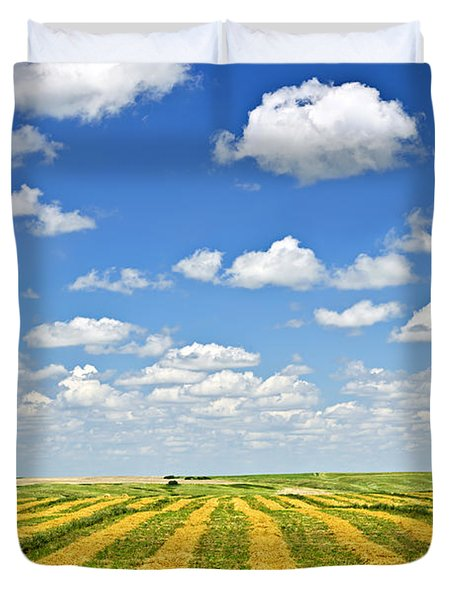 Farm field at harvest in Saskatchewan Duvet Cover by Elena Elisseeva