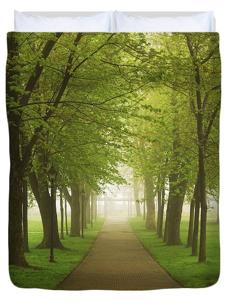 Foggy park Duvet Cover by Elena Elisseeva