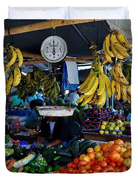 Fruit For Sale Duvet Cover by Li Newton