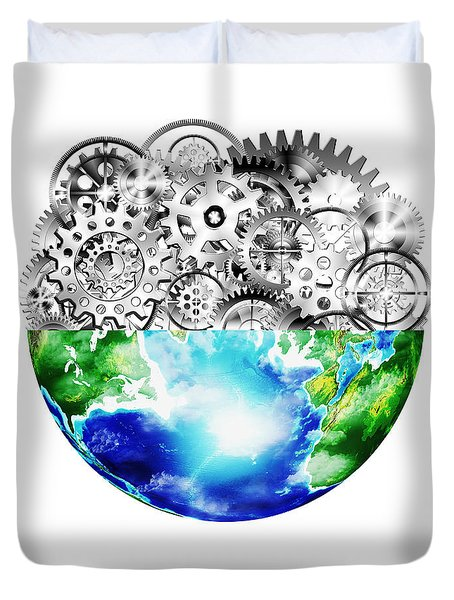 globe with cogs and gears Duvet Cover by Setsiri Silapasuwanchai