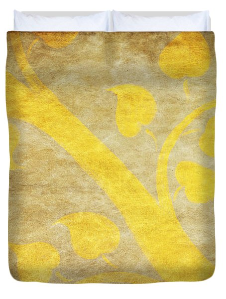 Golden Tree Pattern On Paper Duvet Cover by Setsiri Silapasuwanchai