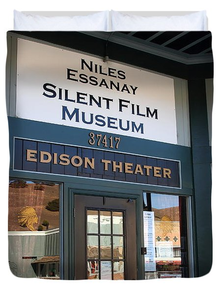 Historic Niles District in California Near Fremont . Niles Essanay Silent Film Museum Edison Theater Duvet Cover by Wingsdomain Art and Photography