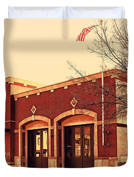Historic Niles District In California Near Fremont . Niles Fire Station Number 2 . 7d10732 Duvet Cover by Wingsdomain Art and Photography
