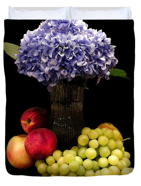 Hydrangea And Fruit Duvet Cover by Sandi OReilly