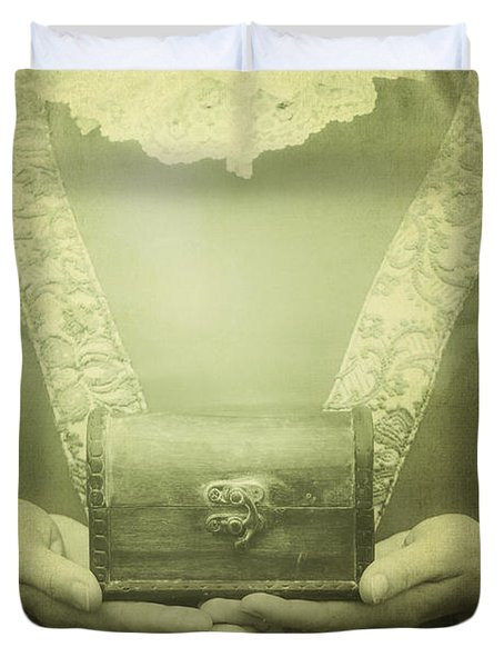 Lady With A Chest Duvet Cover by Joana Kruse
