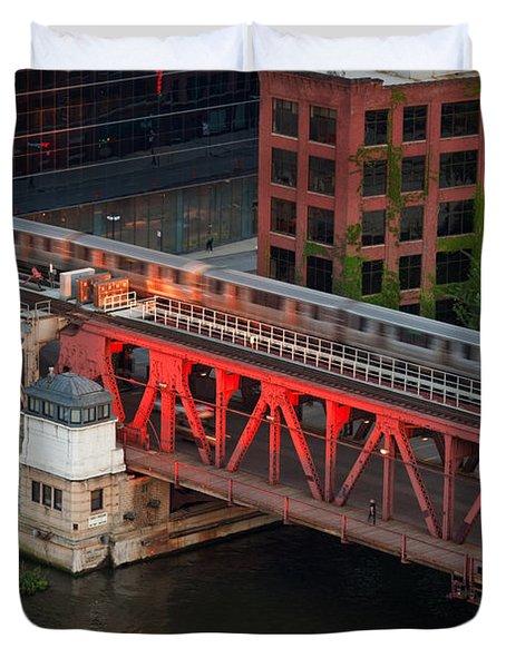 Lake Street Crossing Chicago River Duvet Cover by Steve Gadomski
