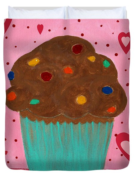 M And M Cupcake Duvet Cover by Barbara Griffin