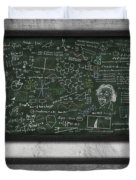 maths formula on chalkboard Duvet Cover by Setsiri Silapasuwanchai