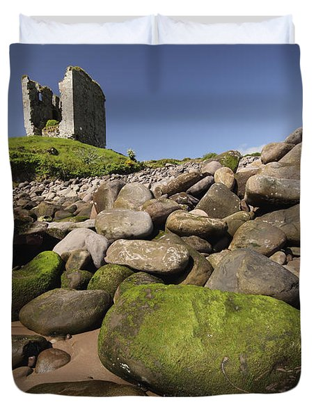 Minard Castle And Rocky Beach Minard Duvet Cover by Trish Punch
