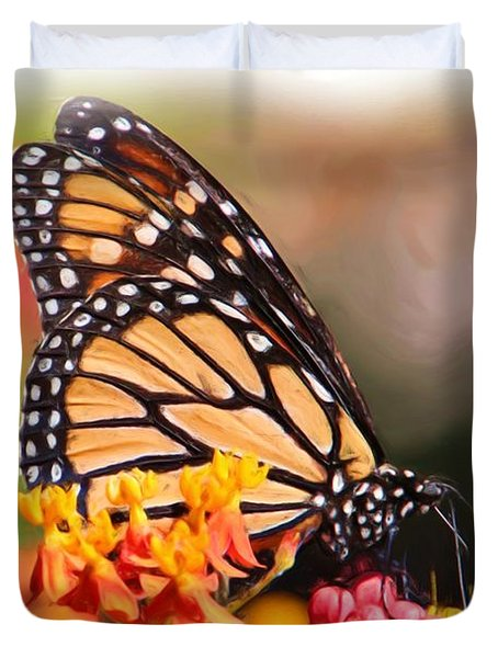Monarch And Milkweed Duvet Cover by Heidi Smith