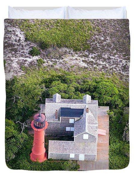 Monomoy Light At Monomoy Wildlife Refuge In Chatham On Cape Cod Duvet Cover by Matt Suess