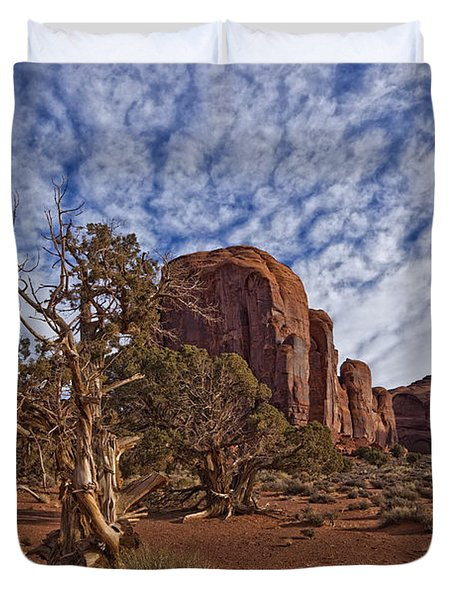 Morning Clouds Over Monument Valley Duvet Cover by Robert Postma