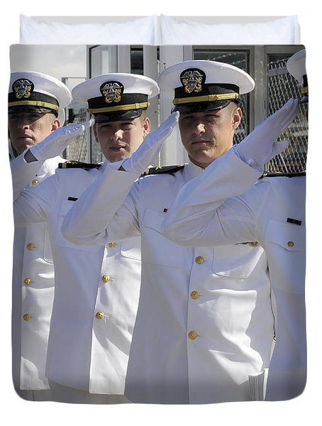 Officers Render Honors During A Change Duvet Cover by Stocktrek Images