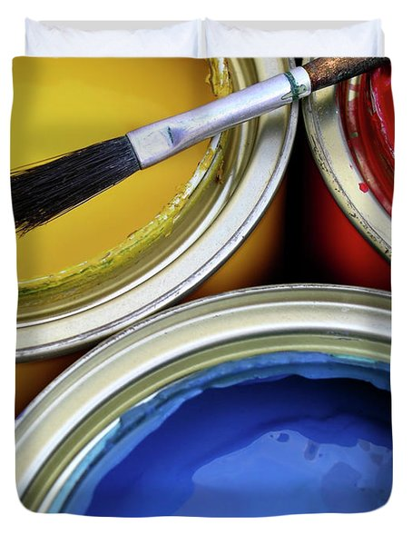 Paint Cans Duvet Cover by Carlos Caetano