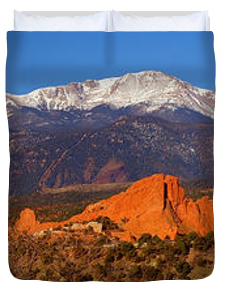 Pike's Peak and Garden of the Gods Duvet Cover by Jon Holiday
