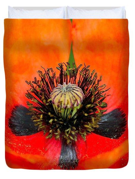 Poppy Heart Duvet Cover by Karon Melillo DeVega
