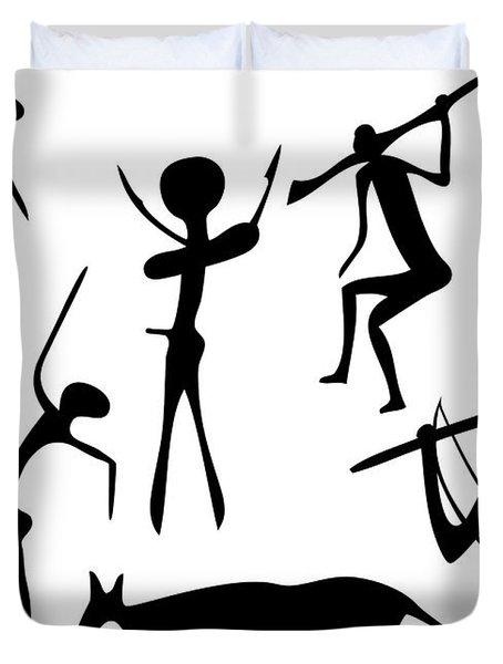 Primitive Art - Various Figures Duvet Cover by Michal Boubin