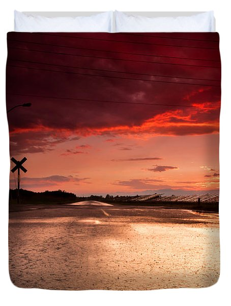 Railroad Sunset Duvet Cover by Cale Best