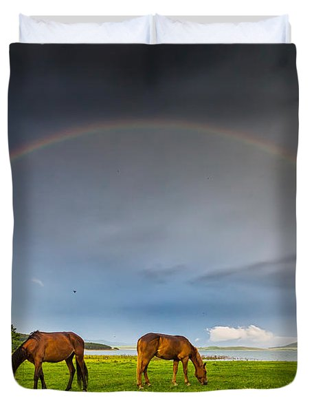 Rainbow Horses Duvet Cover by Evgeni Dinev