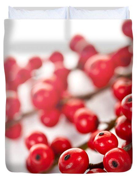 Red Christmas berries Duvet Cover by Elena Elisseeva