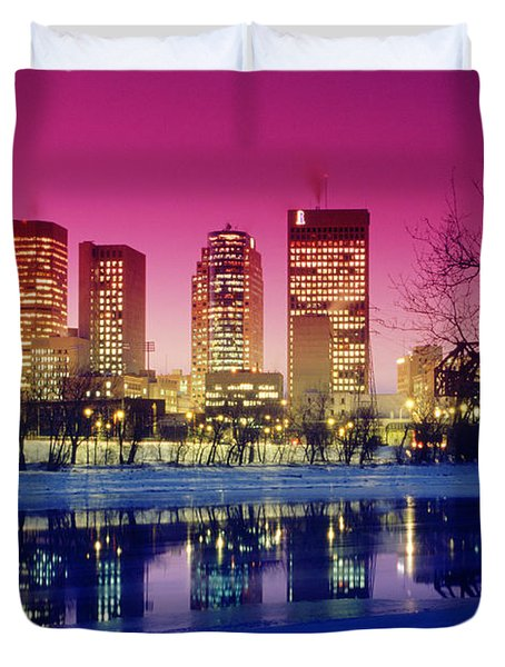 Red River And Downtown Winnipeg Duvet Cover by Dave Reede